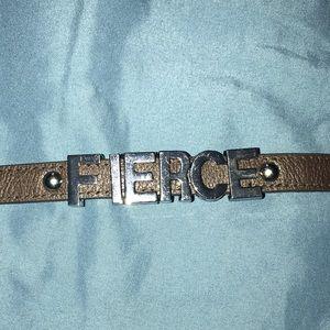 BCBG Silver FIERCE Bracelet Brown Leather Band